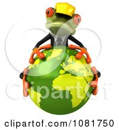 Clipart 3d Contractor Frog Hugging Earth 1 Royalty Free CGI Illustration by Julos