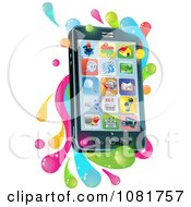 Clipart 3d Cell Phone With Apps And Splashes Royalty Free Vector Illustration