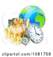 Clipart 3d Globe With Money And A Clock Royalty Free Vector Illustration