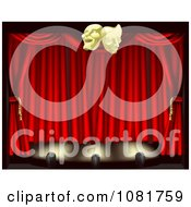 Clipart 3d Theater Stage Curtains Lighting And Masks Royalty Free Vector Illustration by AtStockIllustration