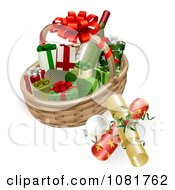 Clipart 3d Basket With Wine Crackers Baubles And Christmas Gifts Royalty Free Vector Illustration