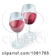 Two 3d Glasses Of Red Wine