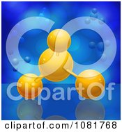 Clipart 3d Orange Molecules Over Blue Royalty Free Vector Illustration by elaineitalia