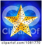 3d Gold Christmas Star Over Blue Lights