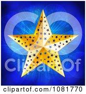 Clipart 3d Gold Christmas Star Over Blue Lights Royalty Free Vector Illustration by elaineitalia