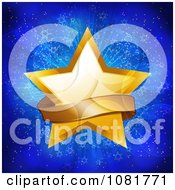 3d Gold Christmas Star And Ribbon Banner Over Blue Lights