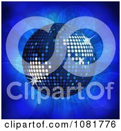 Clipart 3d Blue Disco Ball Over Lights Royalty Free Vector Illustration