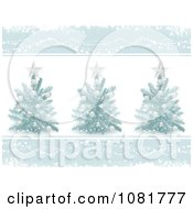 Three 3d Christmas Trees With Blue Borders