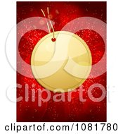 Clipart 3d Golden Christmas Tag Over Red Lights Royalty Free Vector Illustration by elaineitalia
