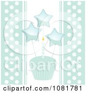 Clipart Blue Cupcake With A Candle And Stars And Polka Dot Edges Royalty Free Vector Illustration