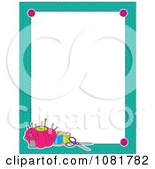 Clipart Turquoise Frame Border With Sewing Items Around White Space Royalty Free Vector Illustration