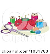 Clipart Red Pin Cushion With Sewing Scissors Thread Buttons And A Thimble Royalty Free Vector Illustration