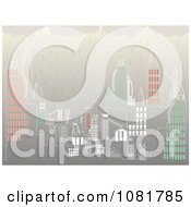 Clipart Rain Pouring Down On A Cityscape Royalty Free Vector Illustration