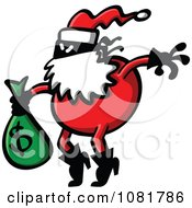 Clipart Santa Robber Carrying A Money Bag Royalty Free Vector Illustration by Zooco #COLLC1081786-0152
