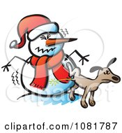 Clipart Dog Peeing On A Mad Snowman Royalty Free Vector Illustration by Zooco
