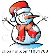 Clipart Happy Snowman With Open Twig Arms And A Santa Hat Royalty Free Vector Illustration by Zooco