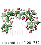 Clipart Christmas Holly Leaves And Berries Corner Design Element Royalty Free Vector Illustration by Zooco