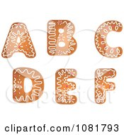 Clipart Gingerbread Letters A Through F Design Elements Royalty Free Vector Illustration