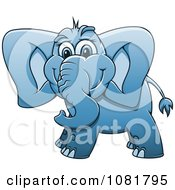 Clipart Cute Blue Elephant Royalty Free Vector Illustration by Vector Tradition SM