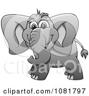 Clipart Cute Grayscale Elephant Royalty Free Vector Illustration by Vector Tradition SM