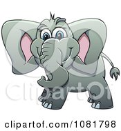 Clipart Cute Gray Elephant Royalty Free Vector Illustration by Vector Tradition SM