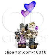 Boy Holding A Lolipop Sucker Blue Balloon And A Teddy Bear Wile Standing By A Girl Holding A Purple Balloon And Teddy Bear