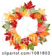 Clipart Beautiful Autumn Wreath Made Of Colorful Leaves 2 Royalty Free Vector Illustration