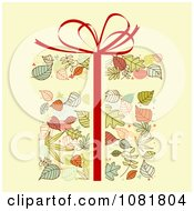 Clipart Autumn Leaf Gift With A Red Bow And Ribbon Royalty Free Vector Illustration