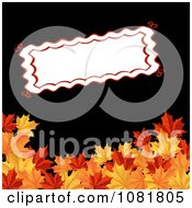 Blank Red Trimmed Sign Above Autumn Maple Leaves On Black