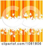 Clipart Orange Autumn Striped Background With White Leaves Royalty Free Vector Illustration