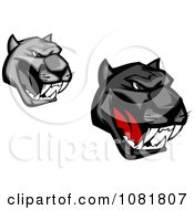 Clipart Grayscale And Black Growling Panther Heads Royalty Free Vector Illustration by Vector Tradition SM