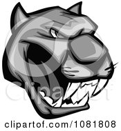 Clipart Grayscale Growling Panther Head Royalty Free Vector Illustration by Vector Tradition SM