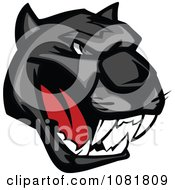 Clipart Black Growling Panther Head Royalty Free Vector Illustration