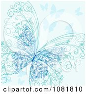 Clipart Ornate Blue Butterfly Background Royalty Free Vector Illustration by Vector Tradition SM