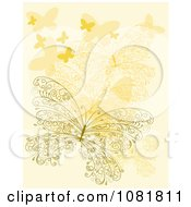 Clipart Ornate Orange Butterfly Background Royalty Free Vector Illustration