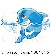 Clipart Cute Blue Dolphin Wading In Water Royalty Free Vector Illustration by Vector Tradition SM