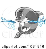 Clipart Cute Gray Dolphin Wading In Water Royalty Free Vector Illustration by Vector Tradition SM