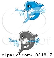 Clipart Cute Blue And Gray Dolphins Wading In Water Royalty Free Vector Illustration by Vector Tradition SM