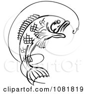 Clipart Black And White Leaping Fish And Hook With Line Royalty Free Vector Illustration
