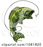 Clipart Green Leaping Fish And Hook With Line Royalty Free Vector Illustration