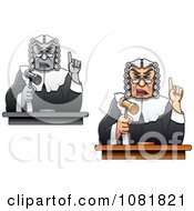 Clipart Judges Holding Up Gavels And Fingers Royalty Free Vector Illustration