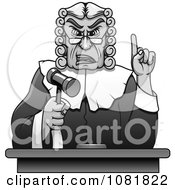 Clipart Grayscale Judge Holding Up A Gavel And Finger Royalty Free Vector Illustration