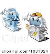Clipart Computer Repair Guys Royalty Free Vector Illustration