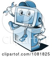 Clipart Blue Computer Repair Guy Sitting On A Tower Royalty Free Vector Illustration