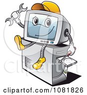 Clipart Computer Repair Guy Sitting On A Tower Royalty Free Vector Illustration