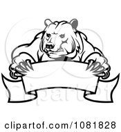 Clipart Black And White Bear Holding A Curved Banner Royalty Free Vector Illustration