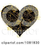 Clipart Black Heart With Yellow Floral Vines Royalty Free Vector Illustration