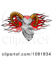 Clipart Ram Head Over Red Flames Royalty Free Vector Illustration by Vector Tradition SM