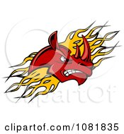 Clipart Red Rhino Head Over Yellow Flames Royalty Free Vector Illustration by Seamartini Graphics