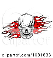 Clipart Skull Over Red Flames Royalty Free Vector Illustration